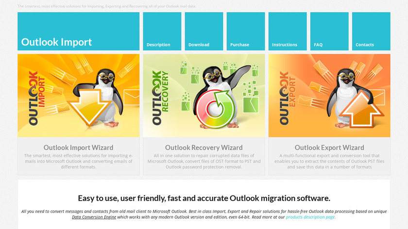 Outlook Import Wizard Landing Page