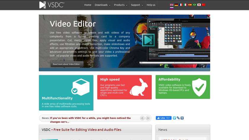 VSDC Free Video Editor Landing Page
