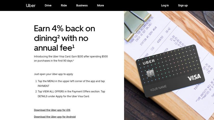 Uber Credit Card Landing Page