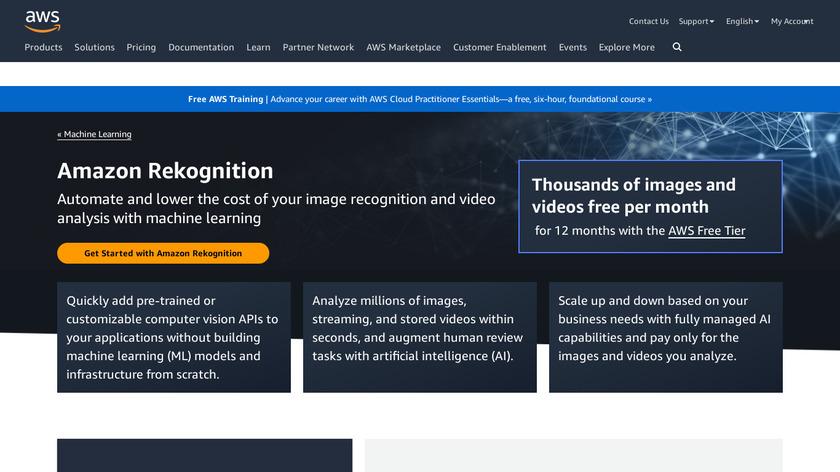 Amazon Rekognition Landing Page