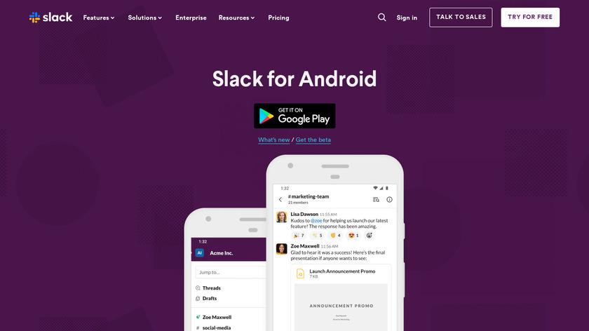 Slack for Mobile Landing Page