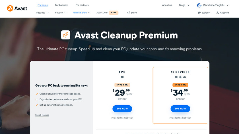 Avast Cleanup Landing Page