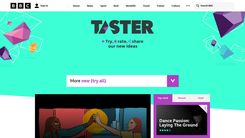 BBC Taster VR Landing Page