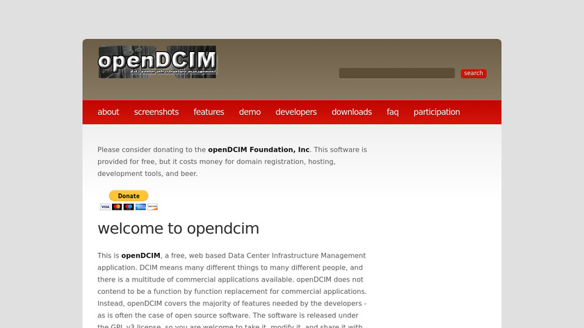 Opendcim Landing Page