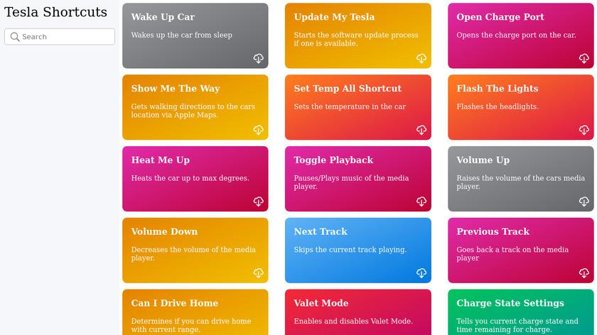 Tesla Shortcuts Landing Page