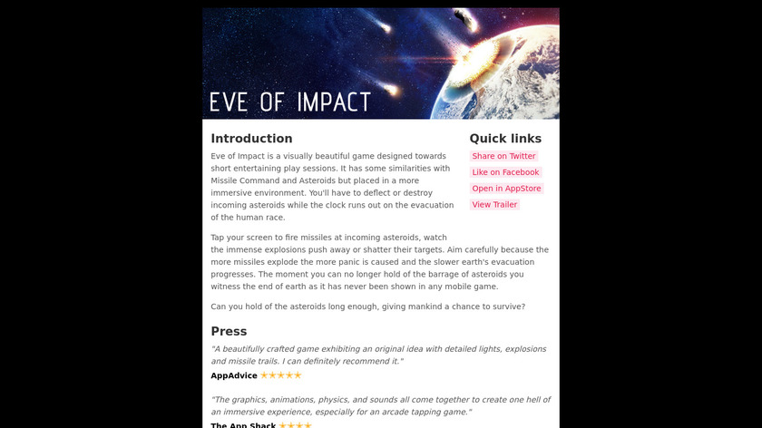 Eve of Impact Landing Page
