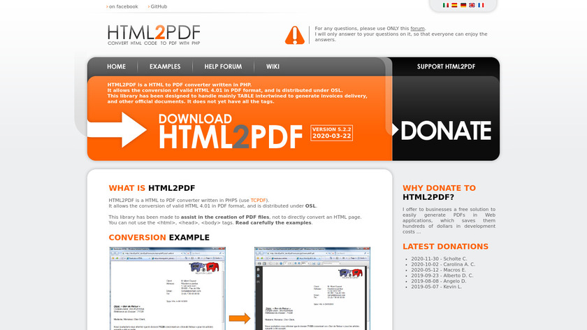 HTML2PDF Landing Page