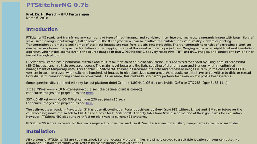PTStitcherNG Landing Page