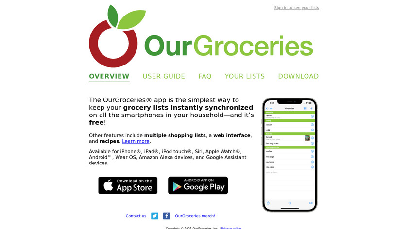 OurGroceries Landing Page