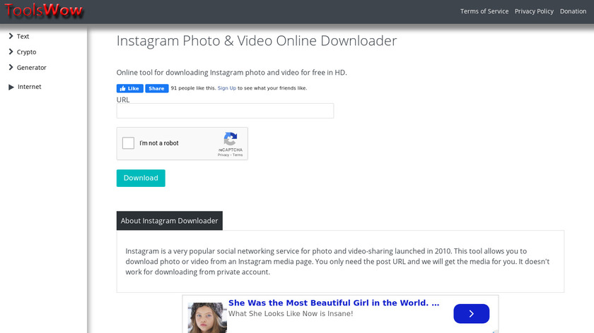 Toolswow Instagram Downloader Landing Page