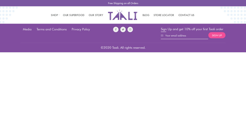 Taali Landing Page