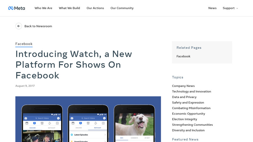 Watch by Facebook Landing Page