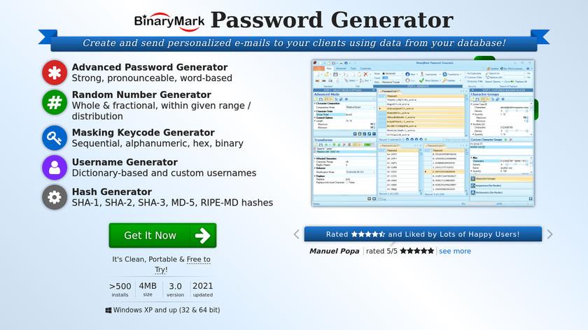 Password Generator 2015 Landing Page