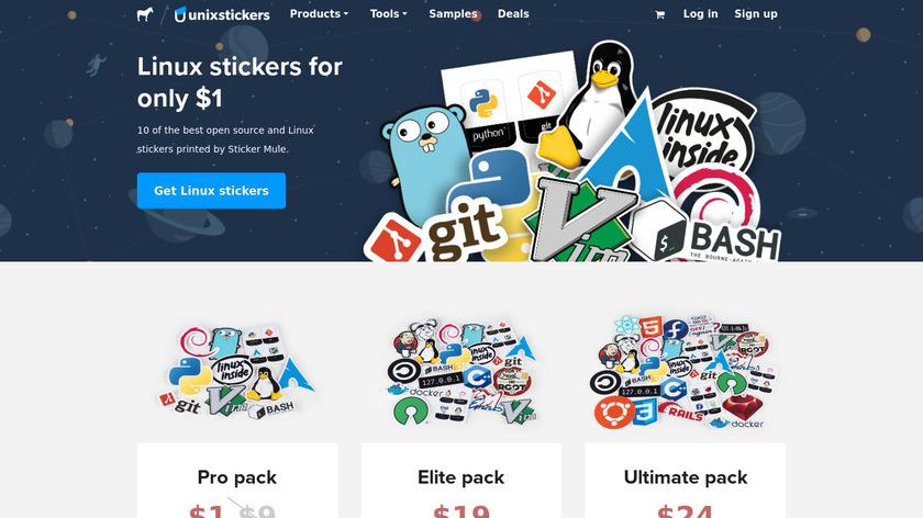 Unixstickers by Sticker Mule Landing Page