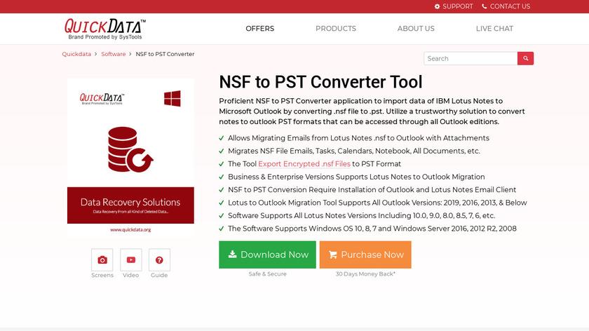 QuickData NSF to PST Landing Page