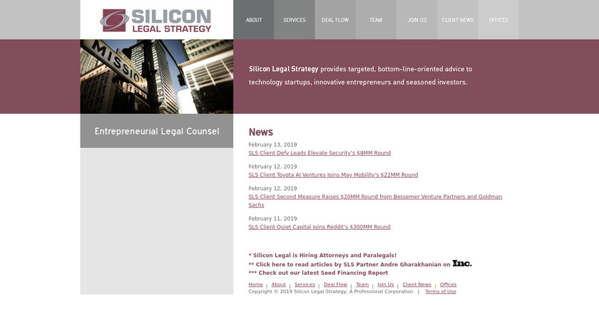 Silicon Legal Landing Page