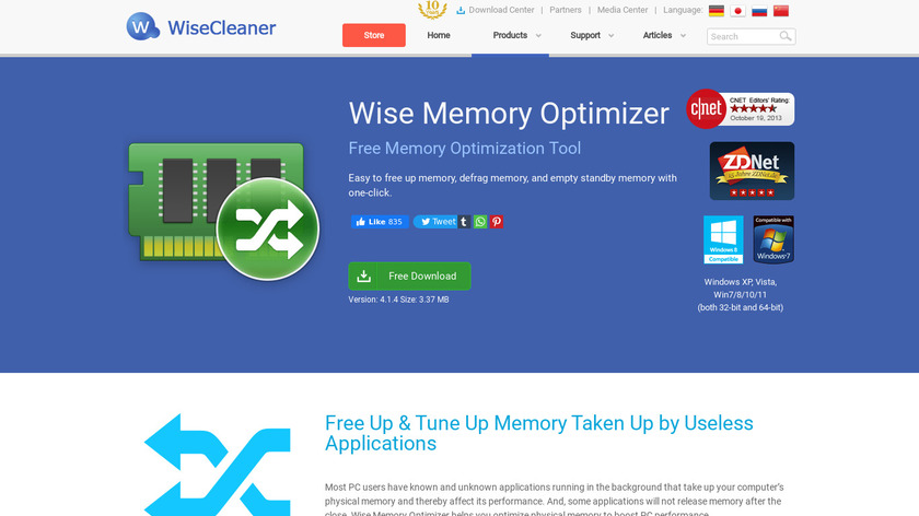 Wise Memory Optimizer Landing Page