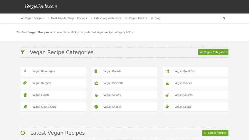 VeggieSouls Vegan Recipes Landing Page