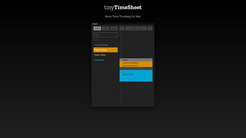 tinyTimeSheet Landing Page