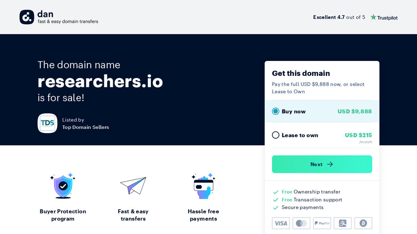 Researchers.io Landing Page