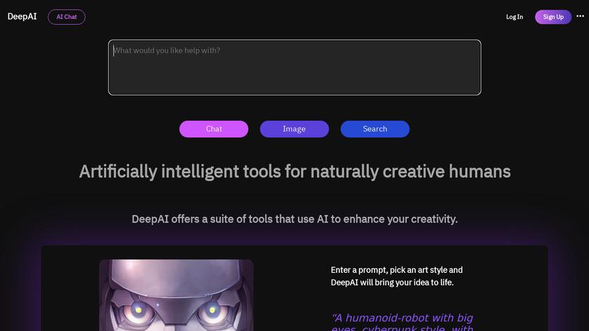 DeepAI Landing Page