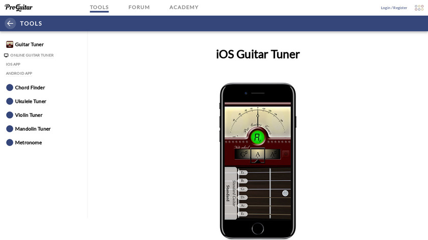 Pro Guitar Tuner Landing Page