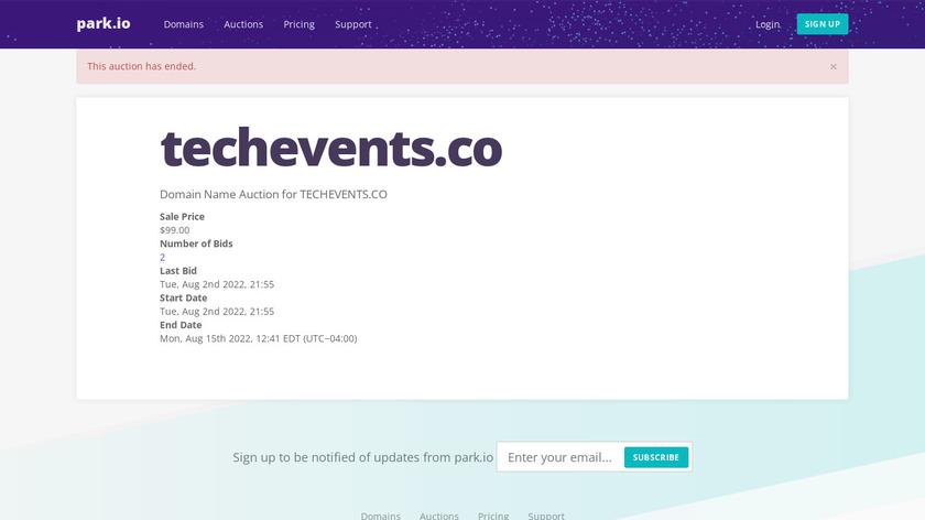TechEvents.co Landing Page