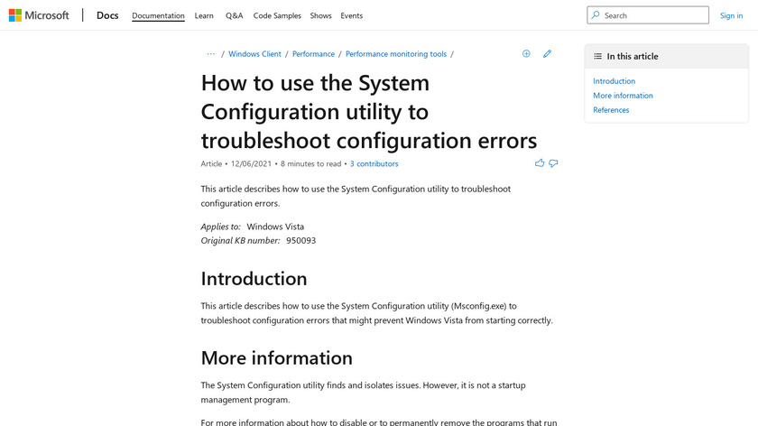 MSConfig Landing Page