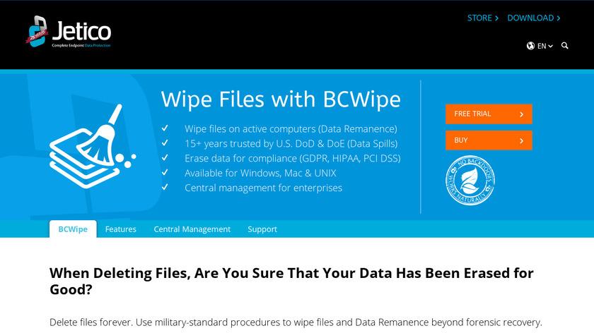 BCWipe Landing Page
