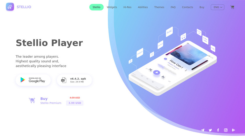 Stellio Music Player Landing Page