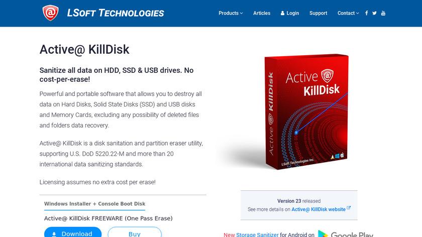 Active@ KillDisk Landing Page