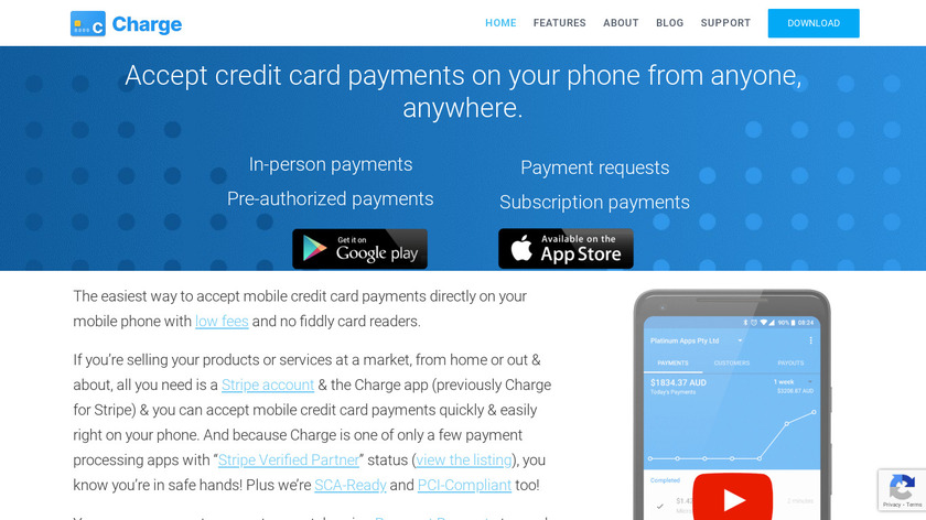 Charge for Stripe Landing Page