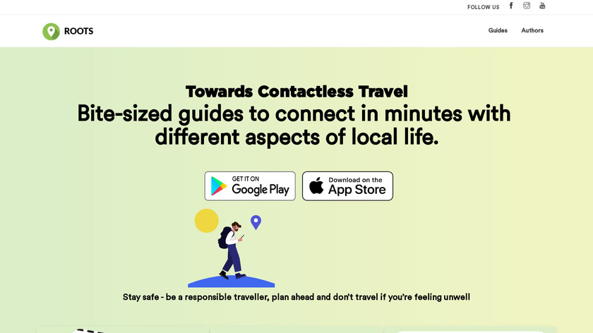 Roots Travel App Landing Page