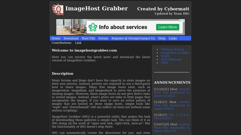 ImageHost Grabber Landing Page