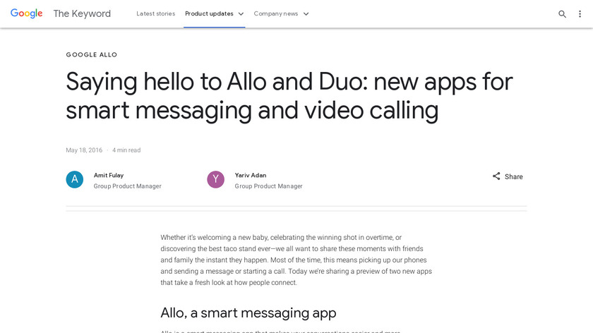 Allo and Duo Landing Page