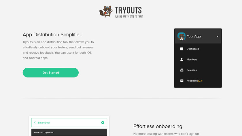 Tryouts Landing Page