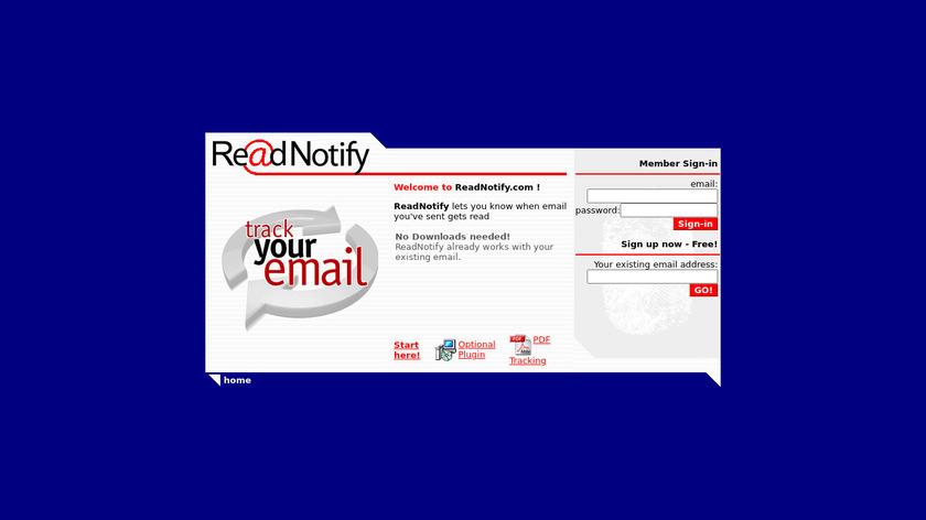 ReadNotify Landing Page