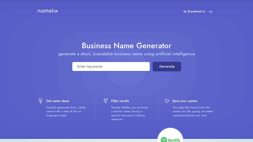 Namelix Landing Page