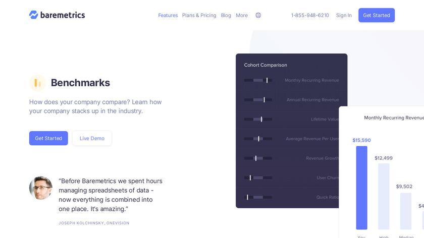 Baremetrics Benchmarks Landing Page