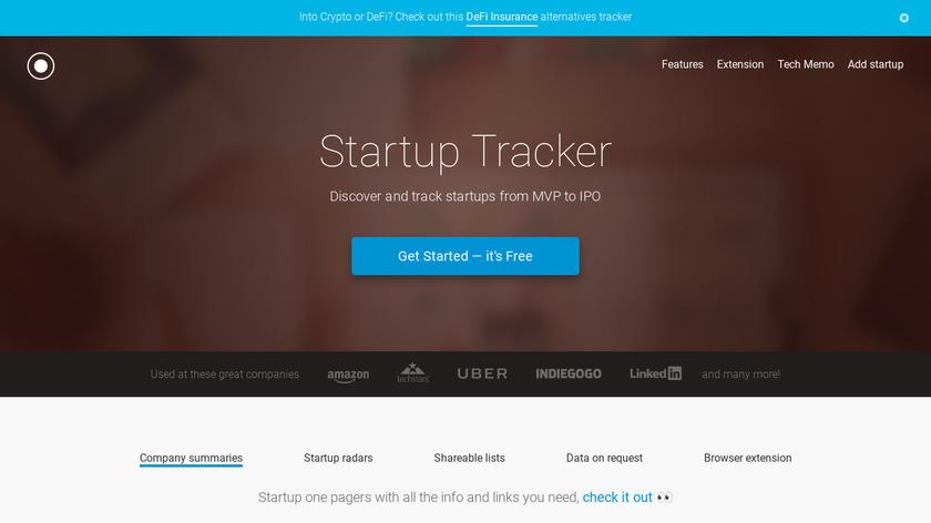 Startup Tracker Landing Page