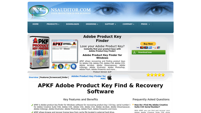 APKF Product Key Finder Landing Page