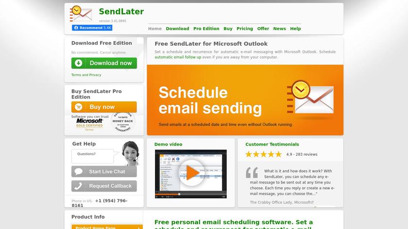 SendLater Landing Page