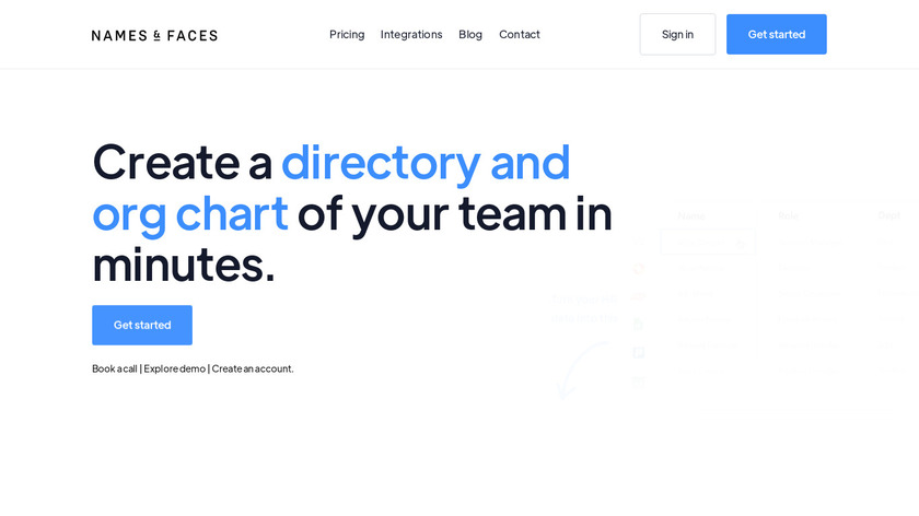 Names & Faces Landing Page