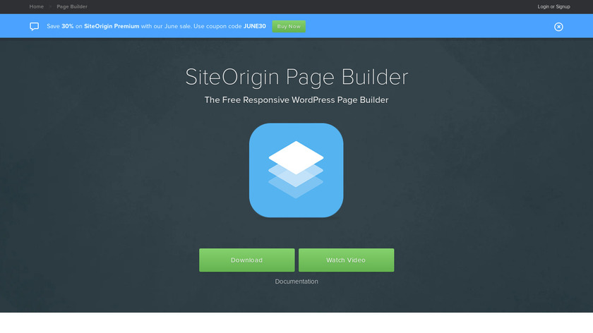 SiteOrigin Page Builder Landing Page