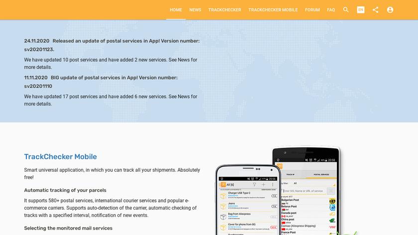 TrackChecker Landing Page