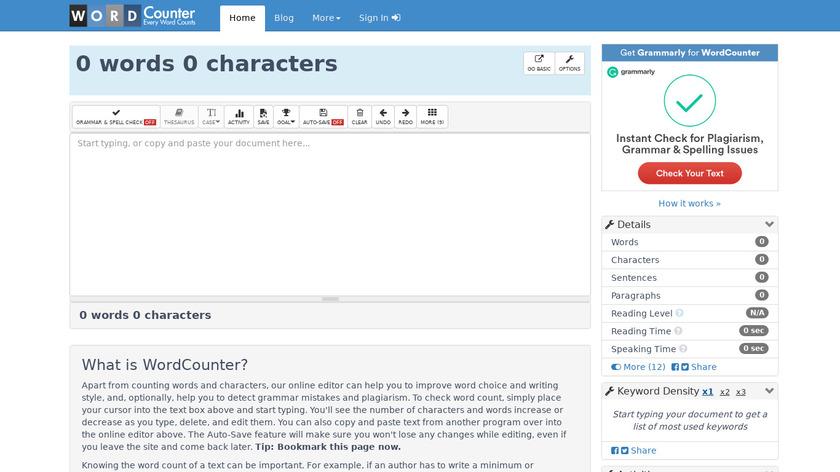 WordCounter.net Landing Page
