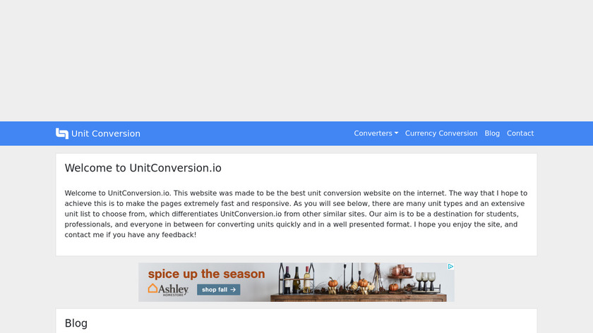 UnitConversion Landing Page