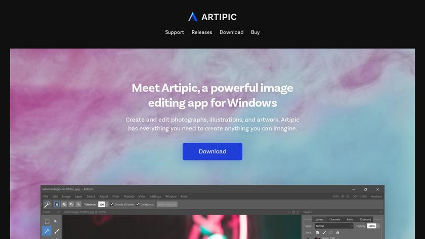 Artipic Photo Editor Landing Page