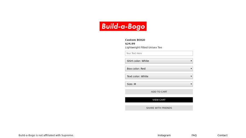 Build-a-Bogo Landing Page