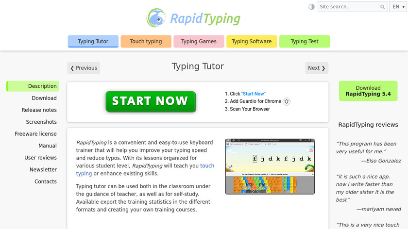 Rapid Typing Tutor Landing Page